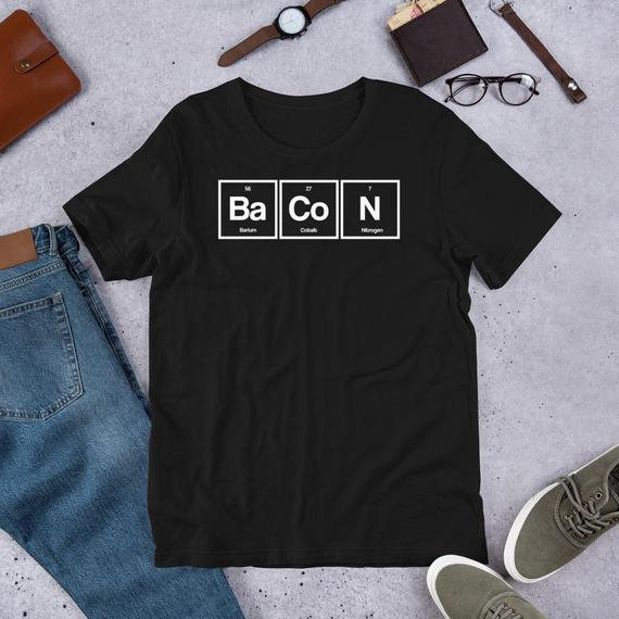 Bacon Periodic Table T-Shirt, Nerdy Shirt, Chemistry Shirt, Funny Food Bacon Shirt, Men's Shirt