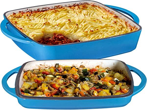 Blue Enameled Baking Dish Set