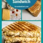 Grilled chicken cheese sandwich collage