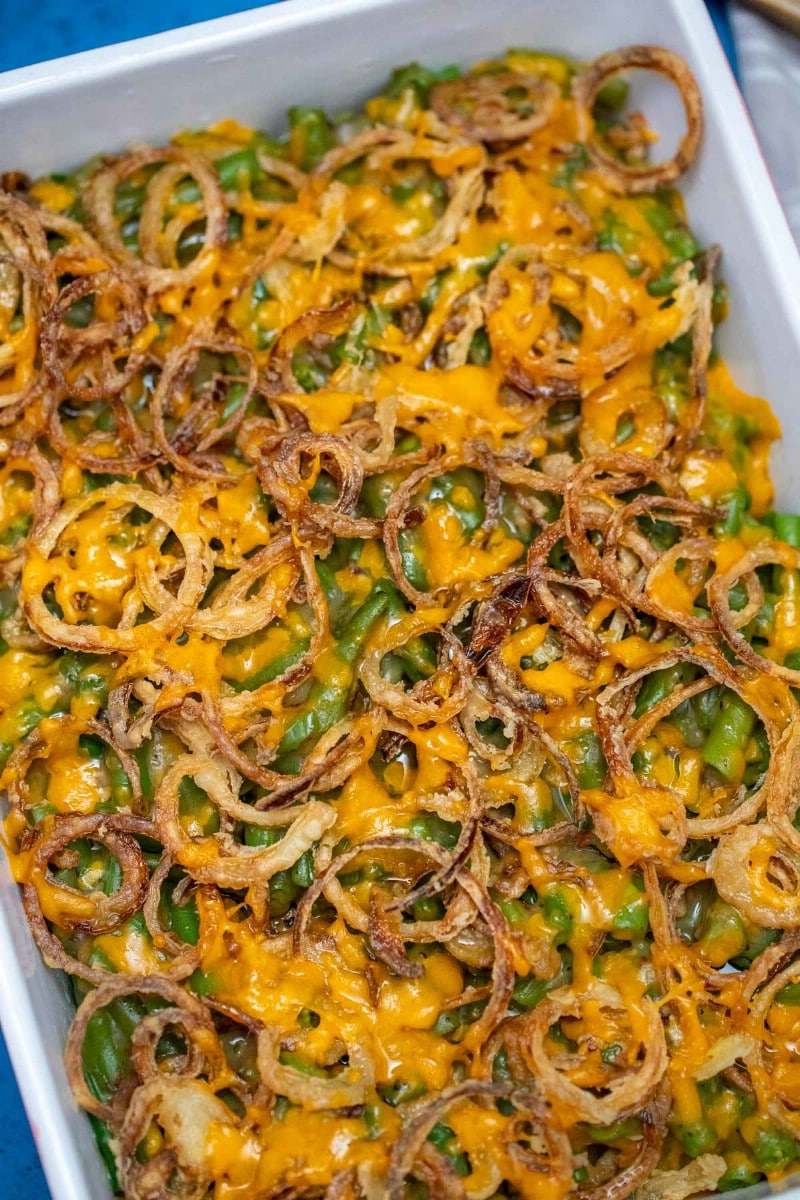 Casserole dish filled with green beans and fried onions