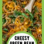 Spoon of cheesy green bean casserole