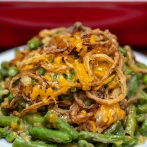Green bean casserole on white plate