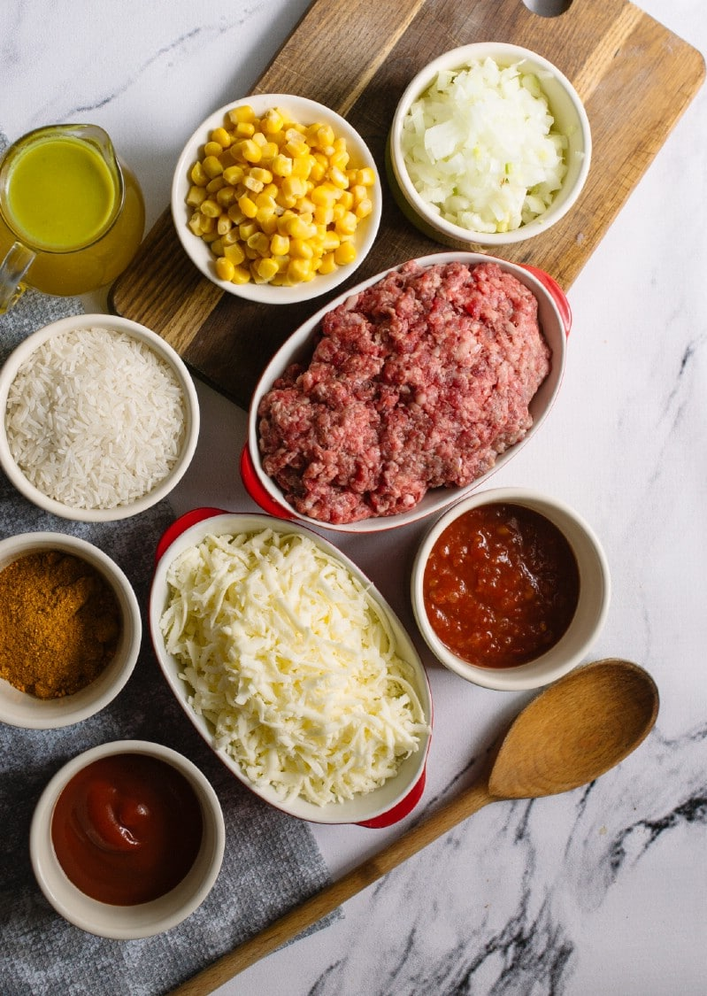 Ingredients for Mexican beef and rice skillet