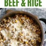Beef and rice in large skillet