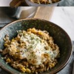Teal bowl filled with beef and rice casserole