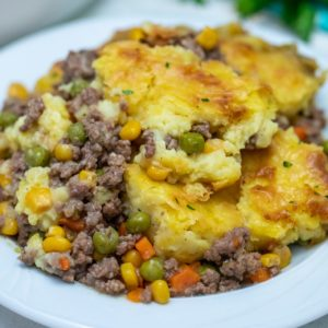 White bowl of shepherds pie