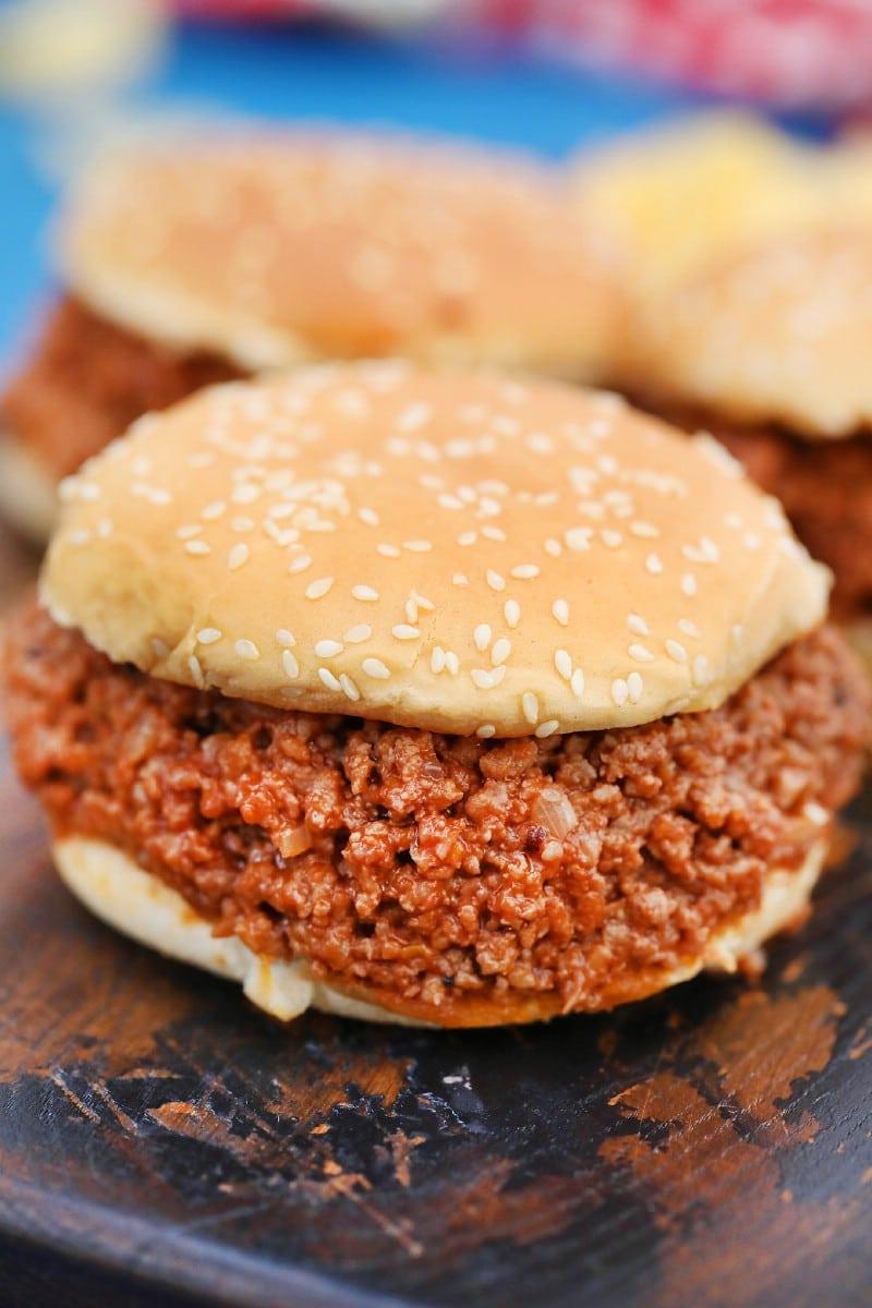 Sloppy Joe sandwiches on sesame seed buns