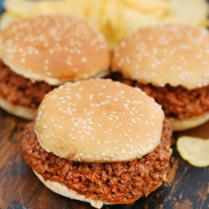 Sloppy Joe sandwiches on sesame seed buns