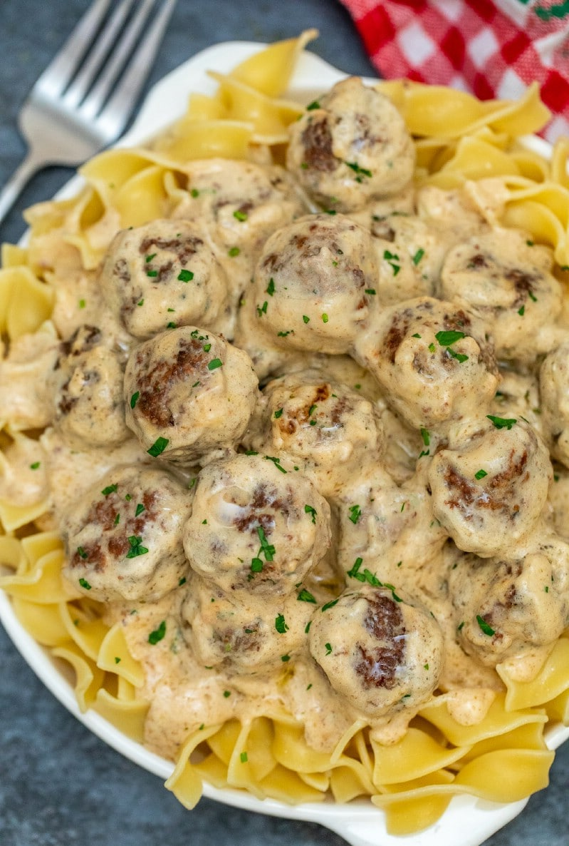 Plate of swedish meatballs over noodles