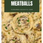 Swedish meatball on spoon over bowl