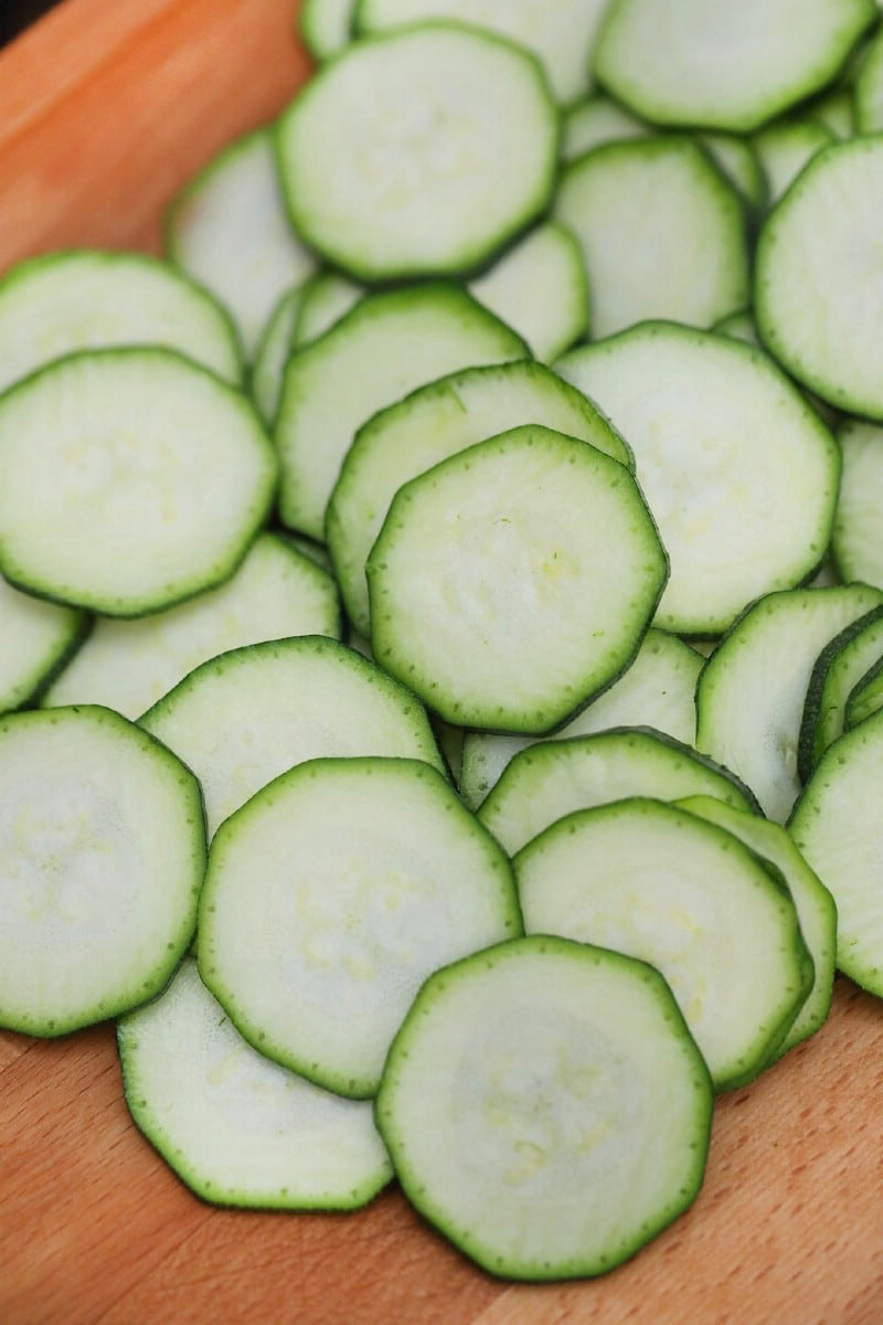 Bowl of sliced zucchini rounds