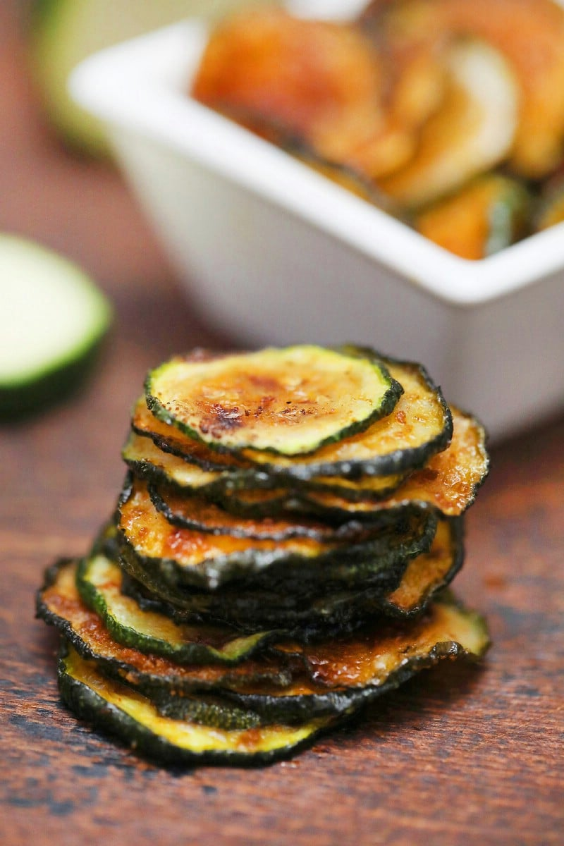 Stack of zucchini chips