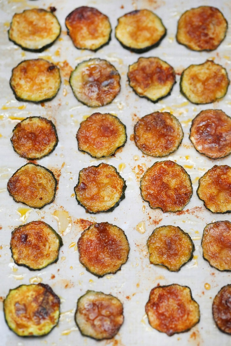 Zucchini chips baked on cookie sheet