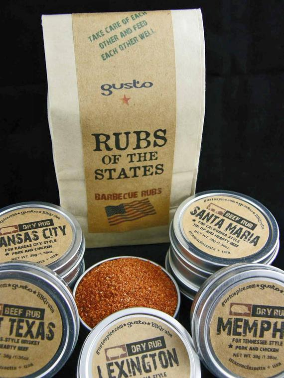 Gusto's Original Barbecue RUBS of the STATES BBQ Sampler Gift Set - Excellent Grilling Gift!