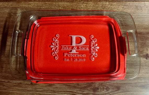 Personalized Casserole Dish Pyrex Baking Dish with Lid