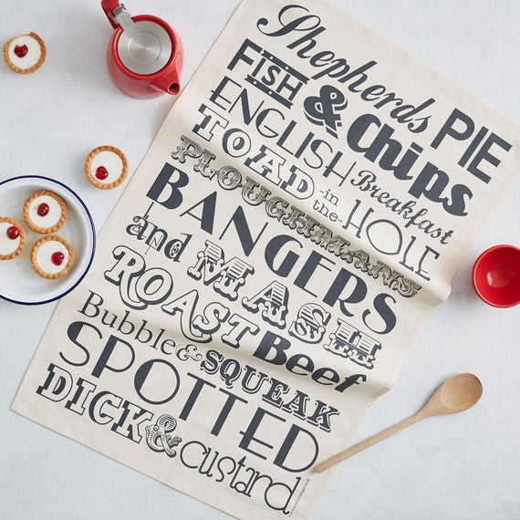 English Dinner Tea Towel / Kitchen Towel - Lovingly Made In Britain