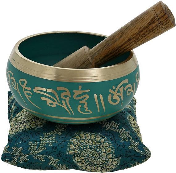 Hand Painted Metal Tibetan Mortar and Pestle