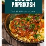 Chicken paprikash in bowl