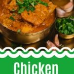 Chicken curry in brass bowl