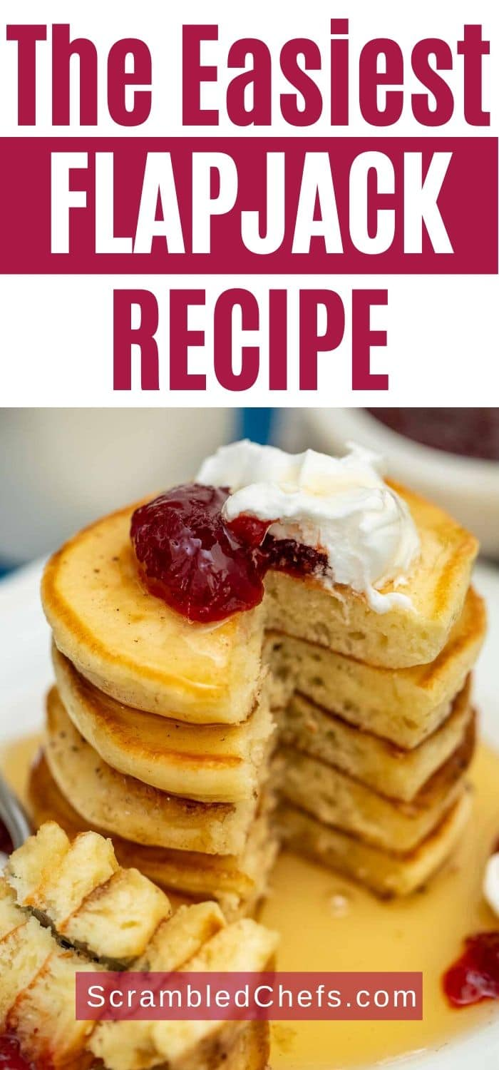 Flapjack topped with jam and whipped cream