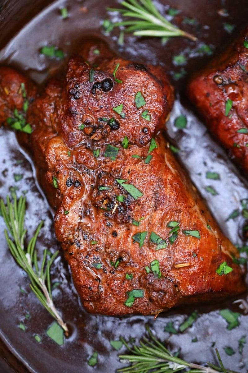 Rosemary on pork tenderloin
