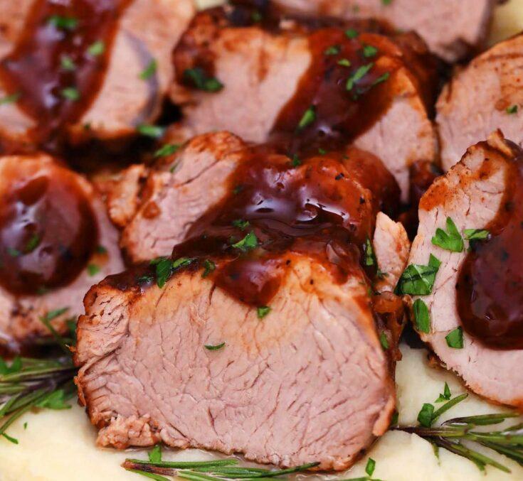 Instant Pot Pork Tenderloin slices with gravy