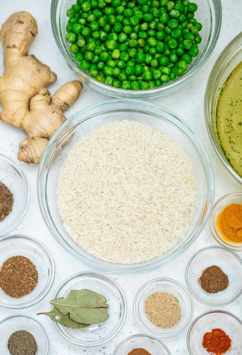 Ingredients for Indian rice recipe