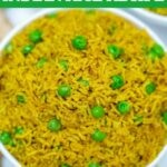 White bowl of Indian rice with peas