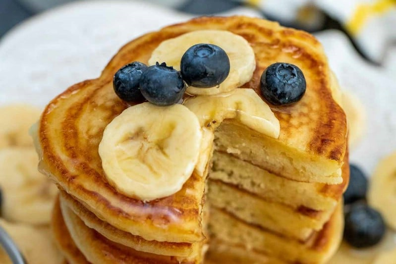 Stack of pancakes with berries