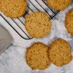Oatmeal cookies on a wire rack