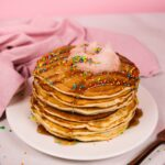 Stack of pancakes with sprinkles