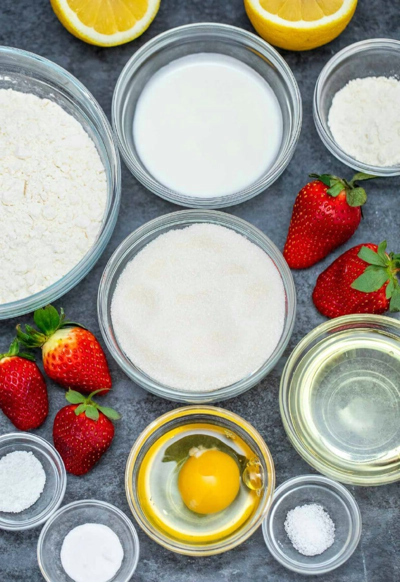 Strawberry bread ingredients