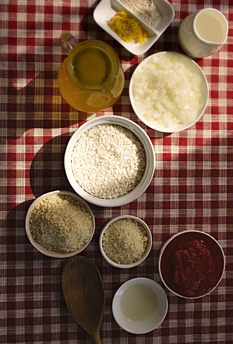 Ingredients for creamy risotto