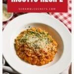 Tomato risotto in white bowl