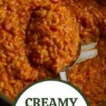 Creamy tomato risotto in skillet