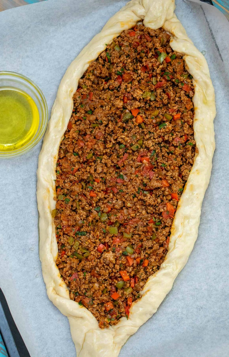 Turkish pide on baking sheet