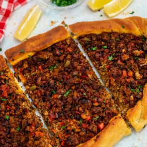 Turkish pide on table