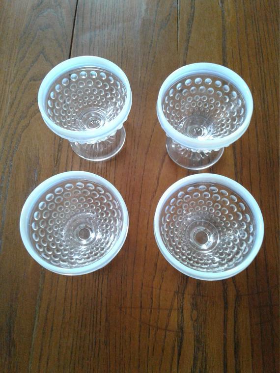 Moonstone Hobnail Opalescent dessert cups set of 4