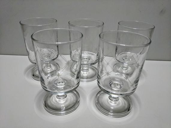 Set of 5 Vintage Glass Dessert Cups with stars, made in France