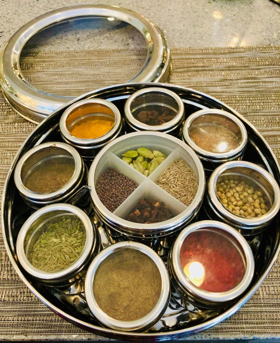 Indian Spice Box With Spices