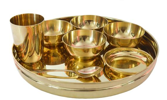 Dinnerware Sets in Brass ( Plate, Bowls, Glass and Spoon)