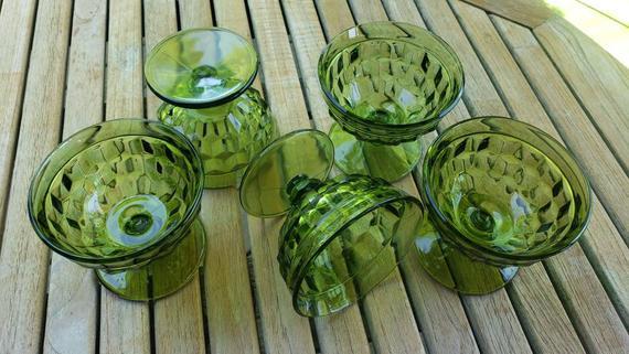 Vintage green dessert glasses