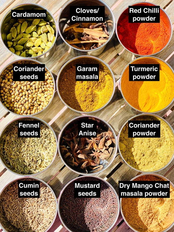 Set of 12 Indian Spice collection ideal cooking
