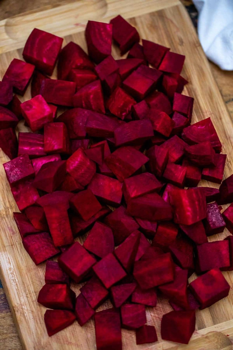 Diced beets on a cutting board