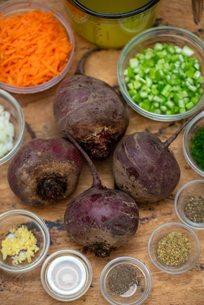 Ingredients for beet soup