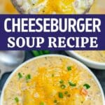 Cheeseburger soup collage