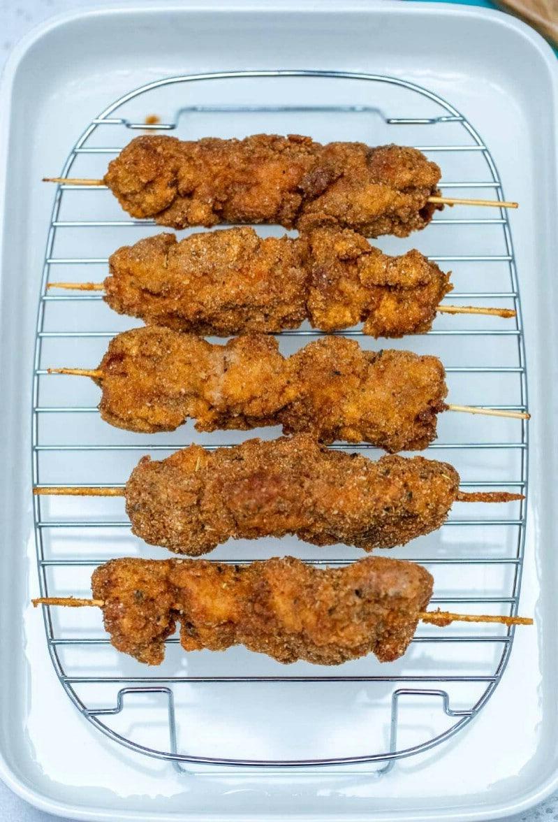 City chicken on wire rack