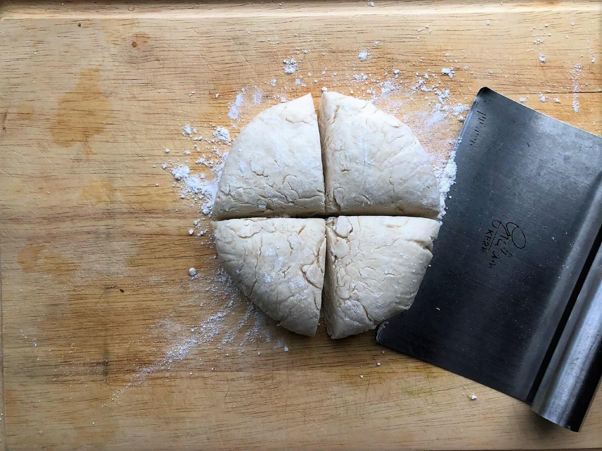 Fry bread dough cut in quarters
