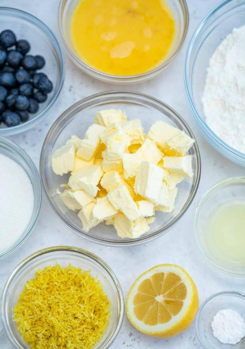 Ingredients for lemon cake recipe