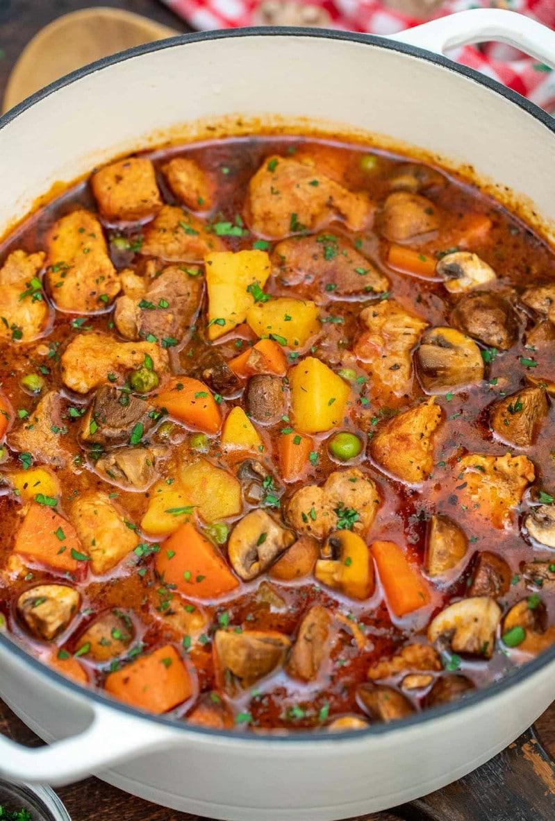 Dutch oven with pork stew